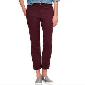 GAP Slim City Khaki Burgundy Red Pants NWT